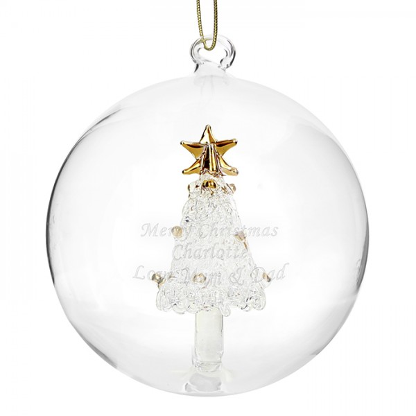 Personalised christmas glass bauble gifts for angels for Personalised christmas decorations